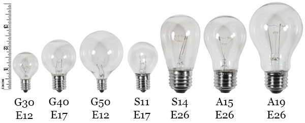 Examples of Bulb and Base Sizes