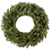 "prelit 24"" Christmas wreaths"