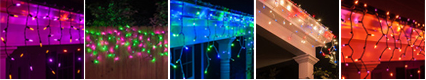 icicle lights color themes for holidays and events