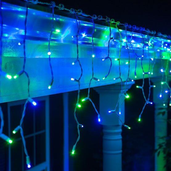 blue, green icicle string lights