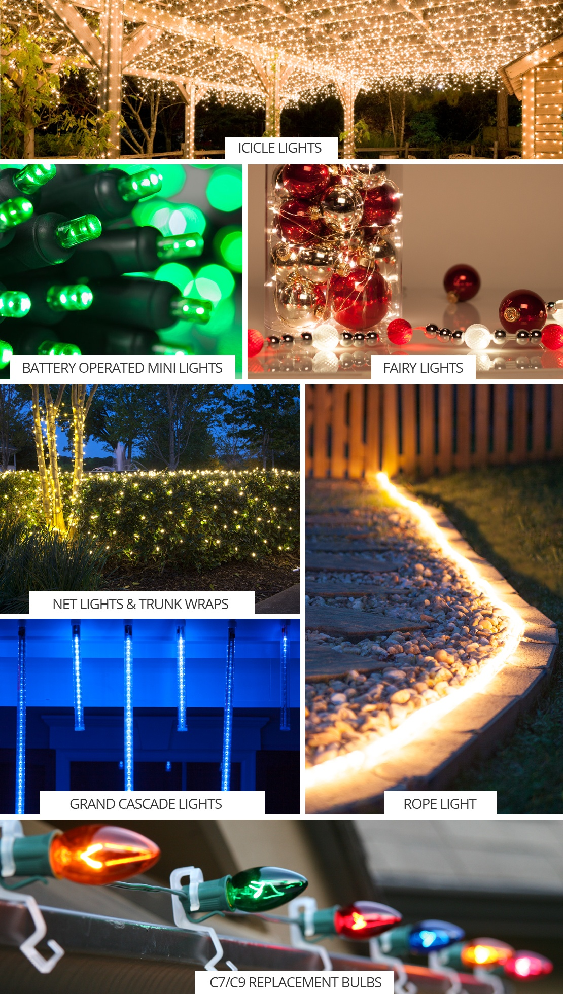 LED Christmas light style guide.