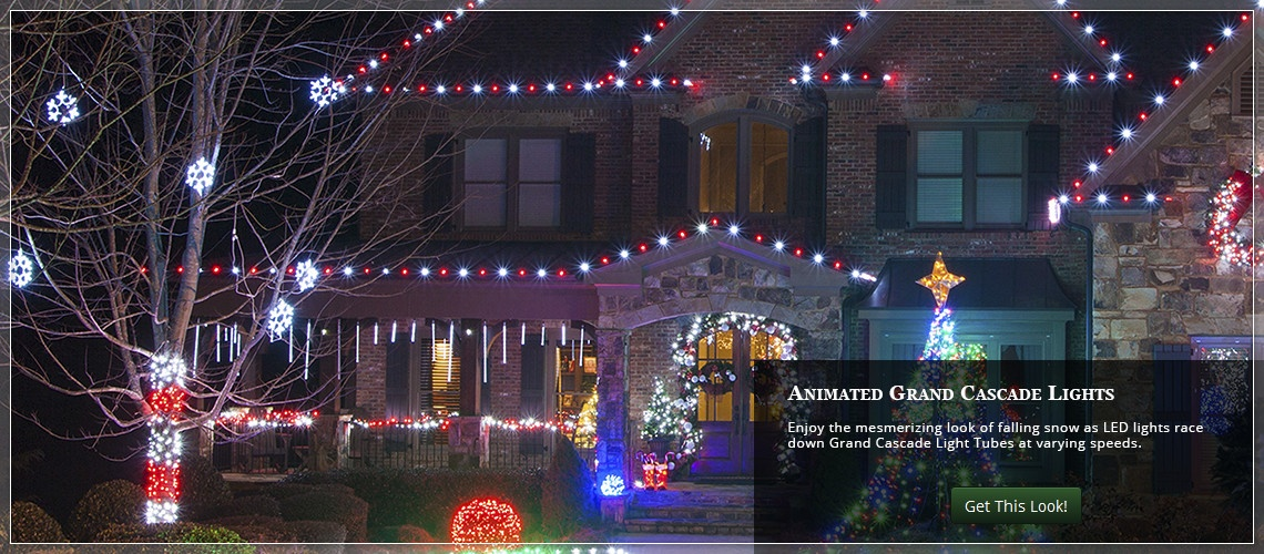animated Christmas roof lights using grand cascade light tubes