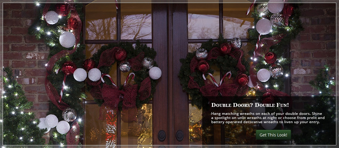 decorate double doors with christmas wreaths