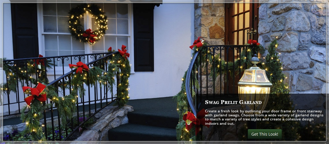 swag garland around a door frame or down the front staircase