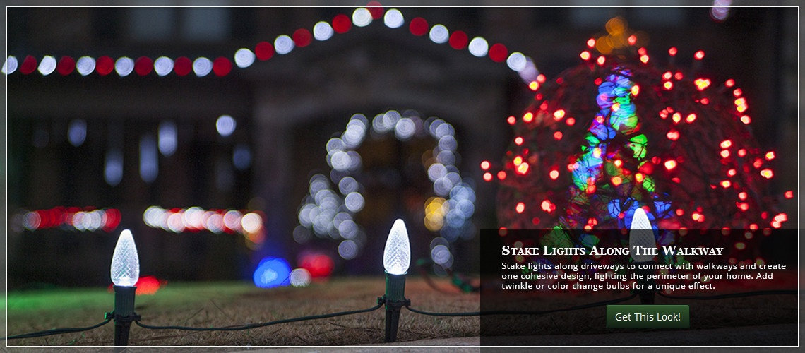 Create inviting walkways and outline the yard with Christmas lights.