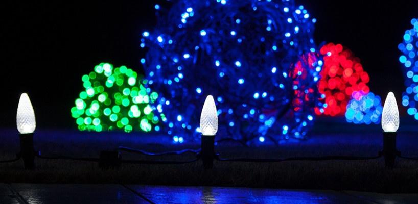 Walkway Christmas lights brighten the yard.