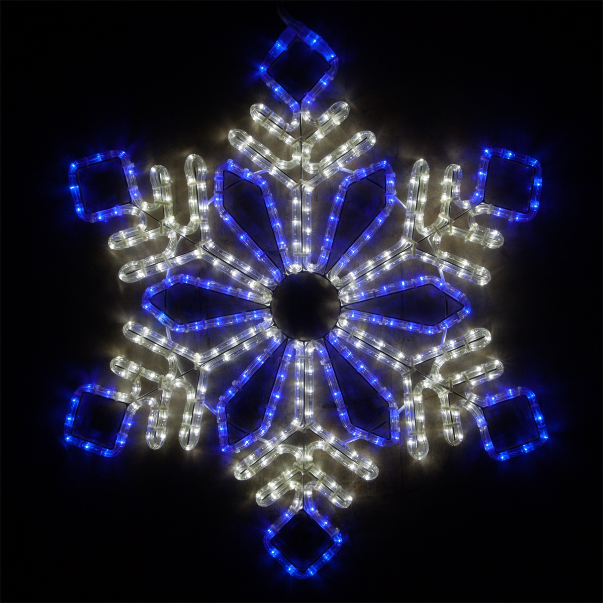 blue and white snowflake LED rope light motif
