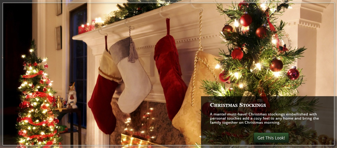 hang Christmas stocking across the mantel