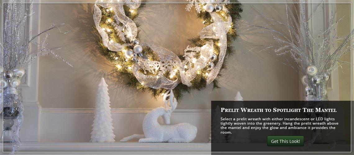 Hang a prelit Christmas wreath above the mantel