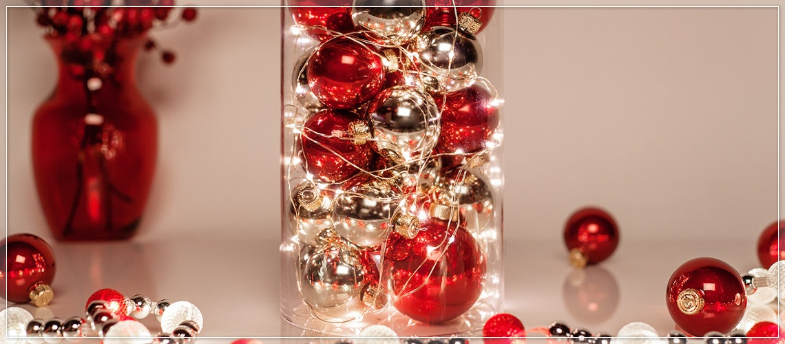 Enhance Christmas mantel decorations with battery operated fairy lights