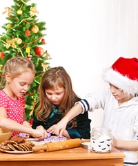 Kids Decorating Kitchen Christmas Tree