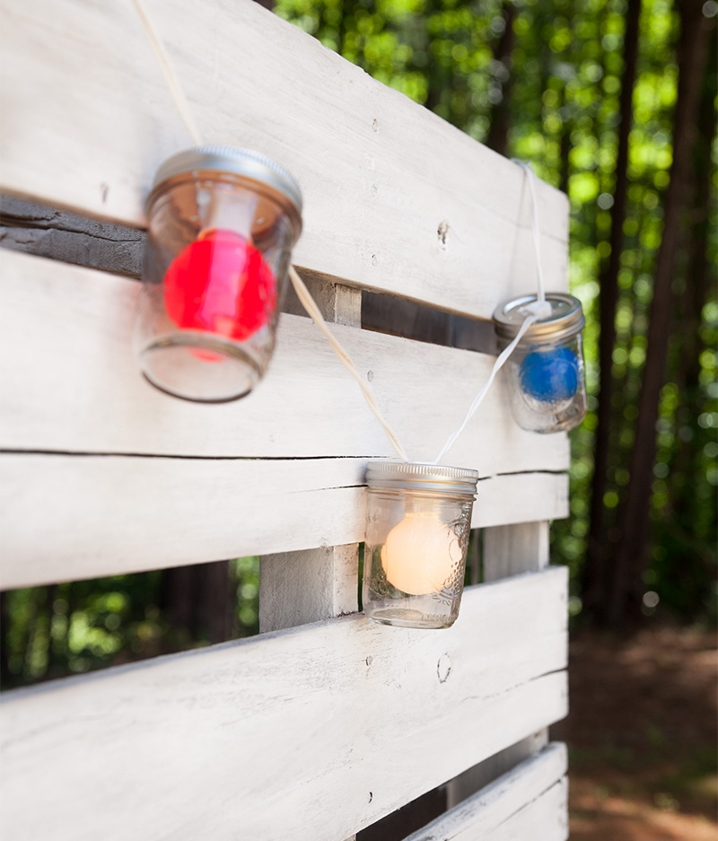 Red, White and Blue Globe Fence Lights for Fourth Of July