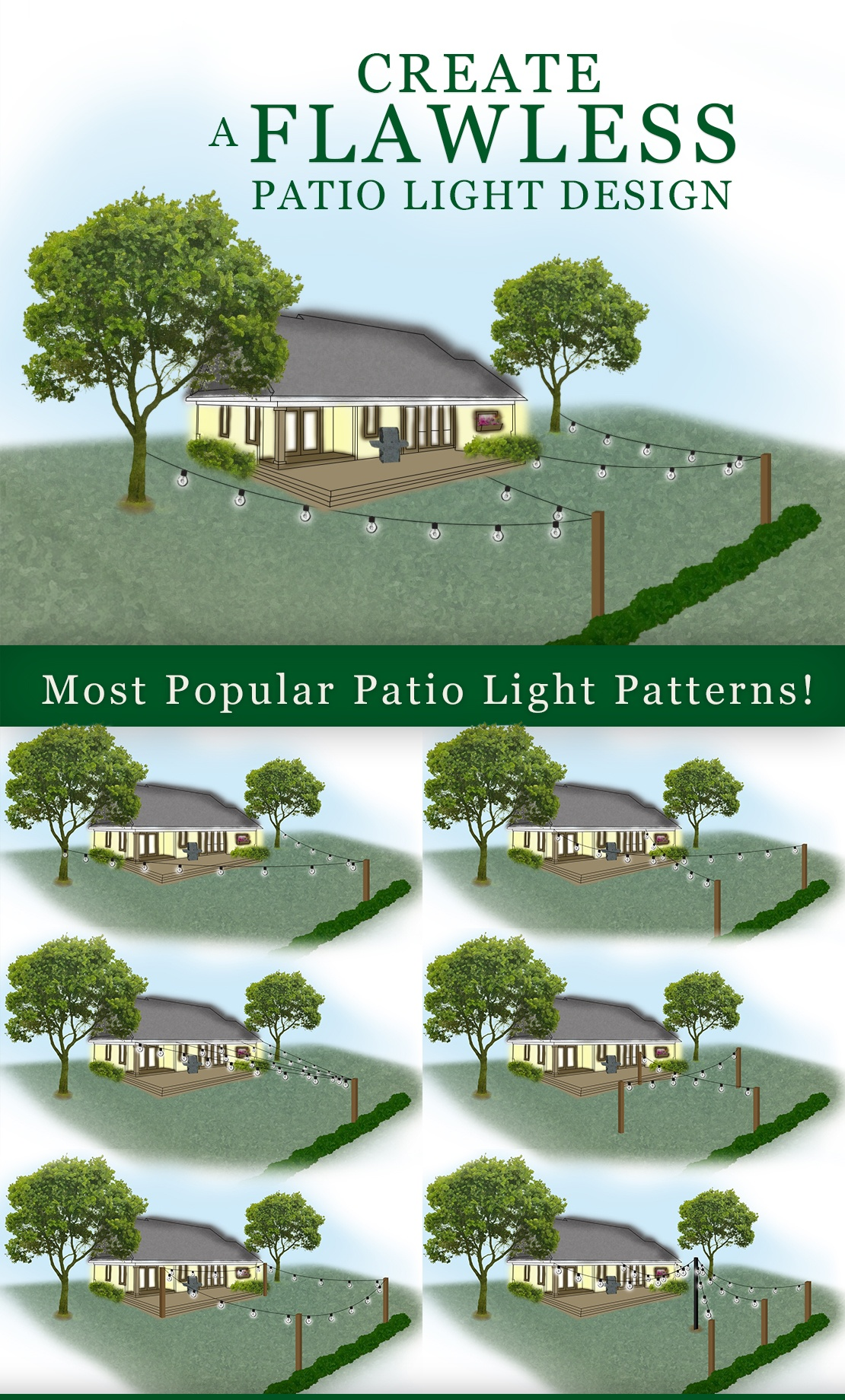 How to hang patio lights and patio light pattern ideas.