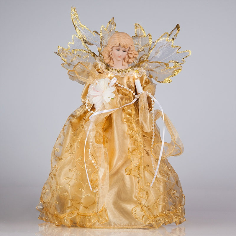Angel Christmas Tree Topper with Gold Gown