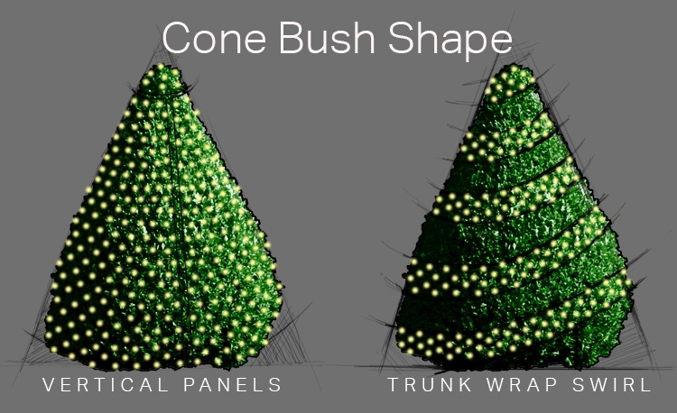 How to Wrap Cone Shaped Bushes With Net Lights and Ribbon Lights