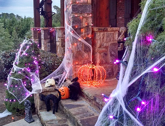 Halloween Lights and Porch Decorations
