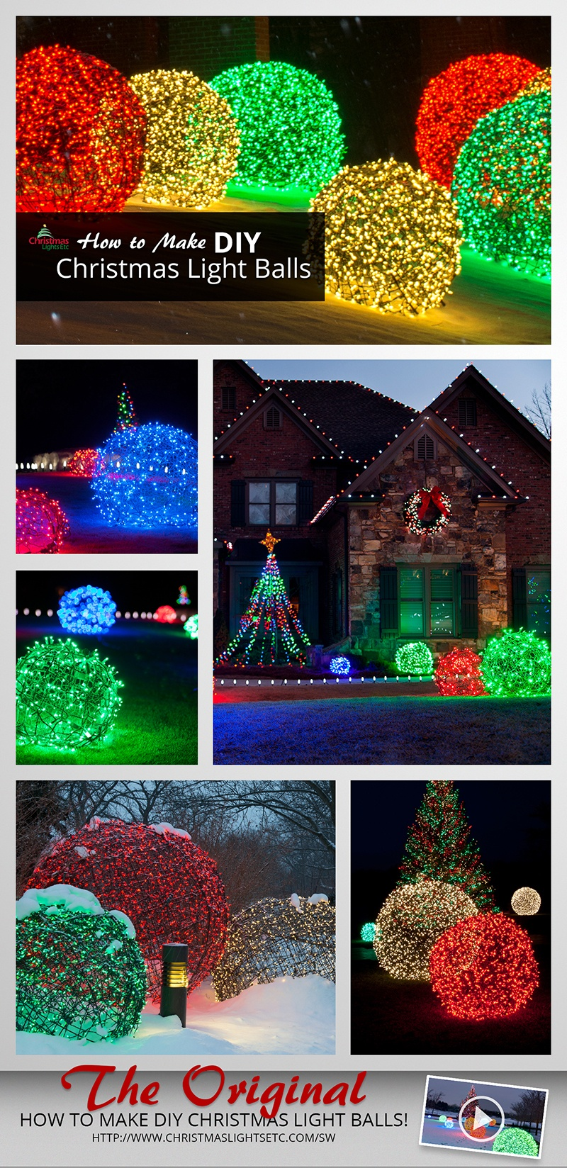 Outdoor Christmas Decoration Ideas - How to Make DIY Christmas Light Balls