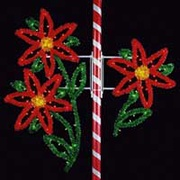 Commercial Christmas decorations and displays.  Outdoor commercial lighting pole mounts, banners, garland, animated displays and decorations, giant statues, santas, and animated figures.