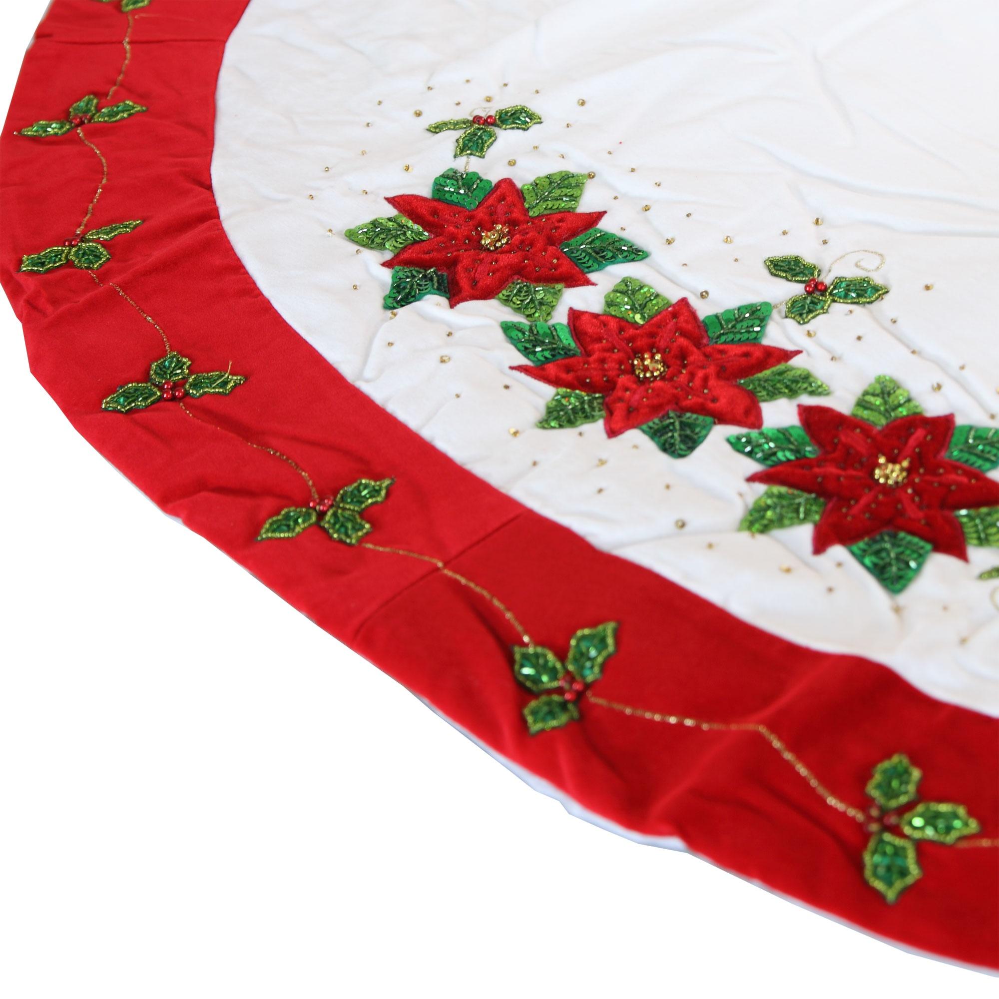 "Tree Skirts - 56"" White Tree Skirt with Poinsettia Design"