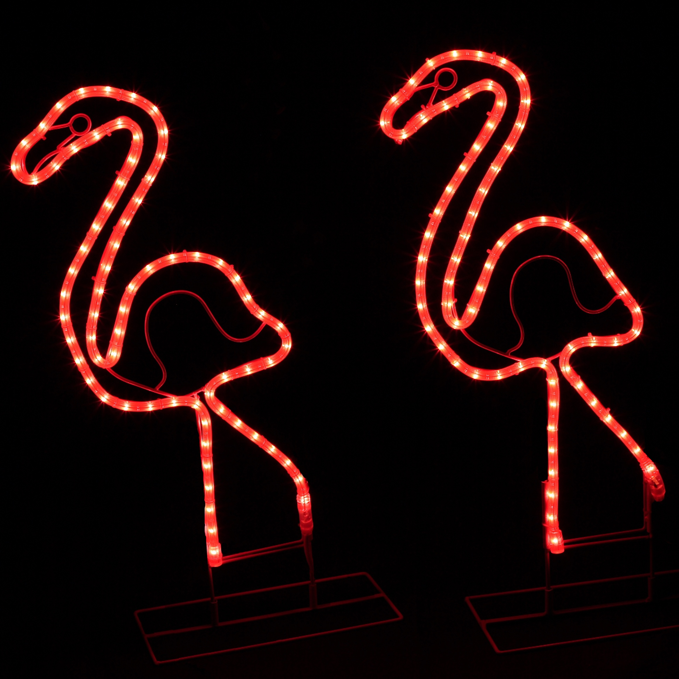Outdoor Decoration 2 Lighted Pink Flamingo