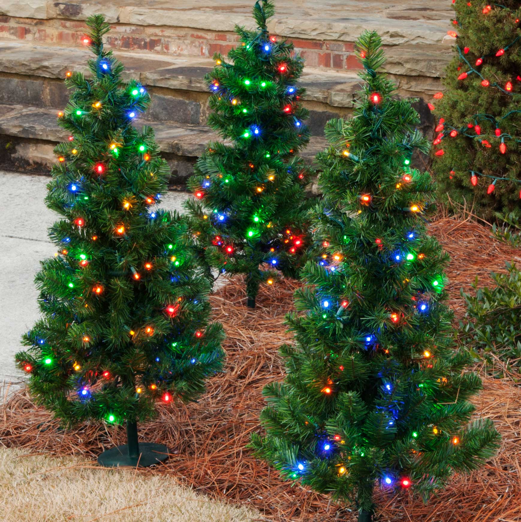 Outdoor Decorations - 3u0026#39; Walkway Pre-Lit Winchester Fir Tree, 100 Multicolored LED Lamps