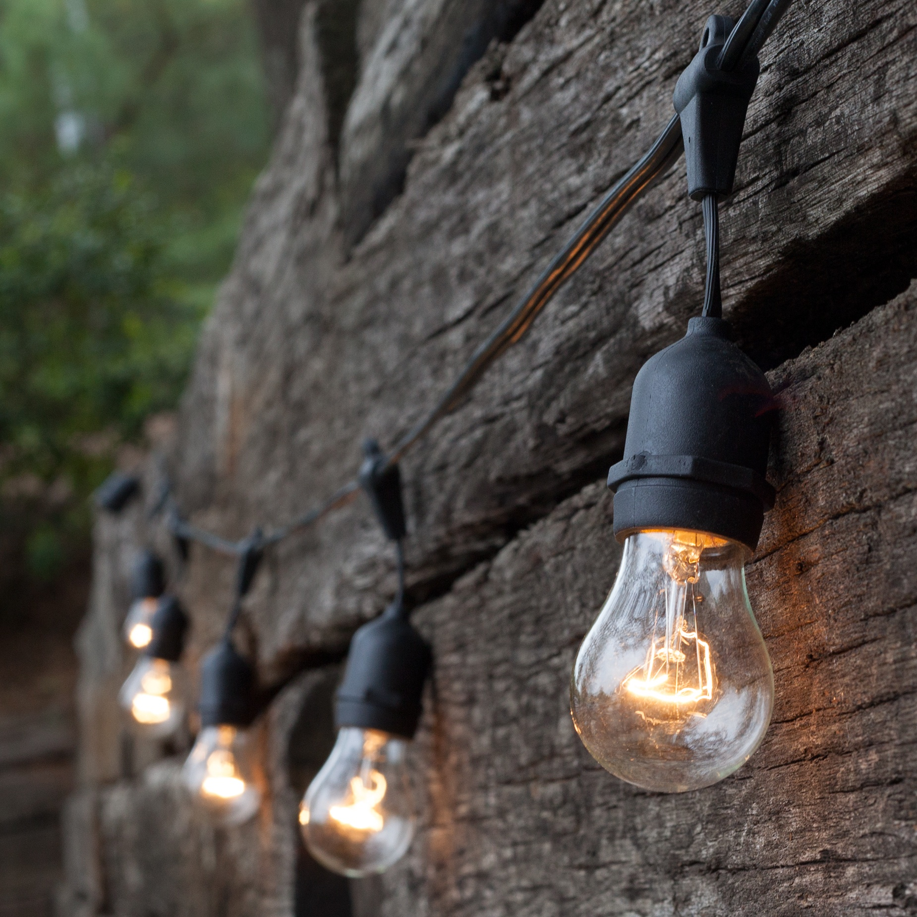 Outdoor String Lights Large Bulbs : Patio Lights - Commercial Clear Patio String Lights, 24 A15 E26 Bulbs Black Wire