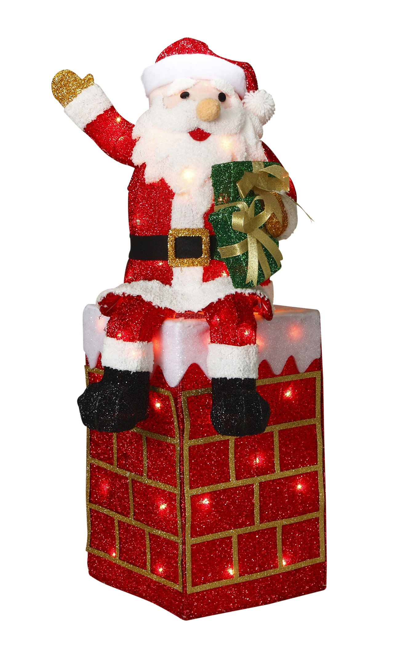 """Christmas Lawn Decorations - 40"""" Lighted Tinsel Santa and ..."""