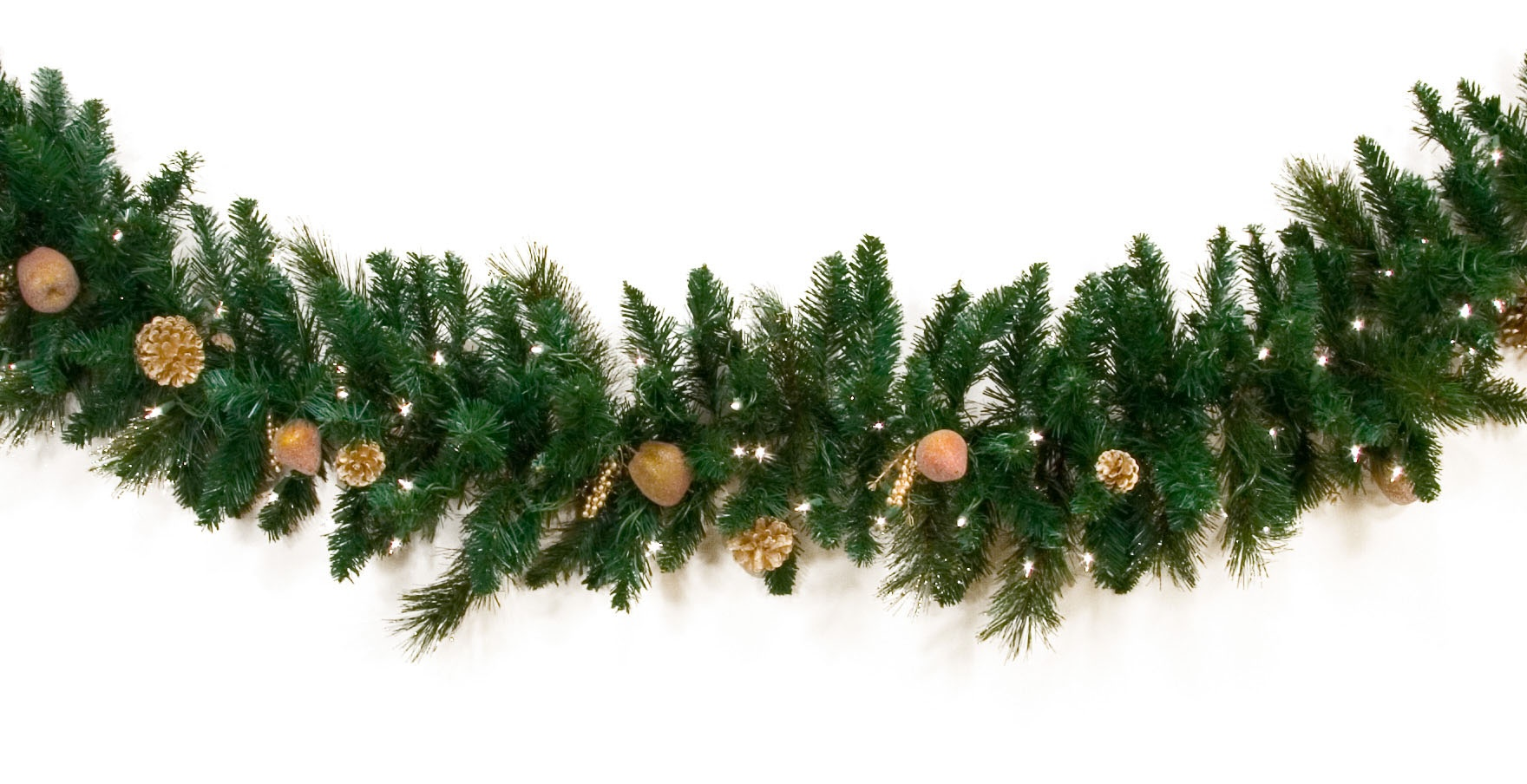 Decorative Garland - Harvest Gold Deluxe Prelit Christmas Garland, Clear Lights