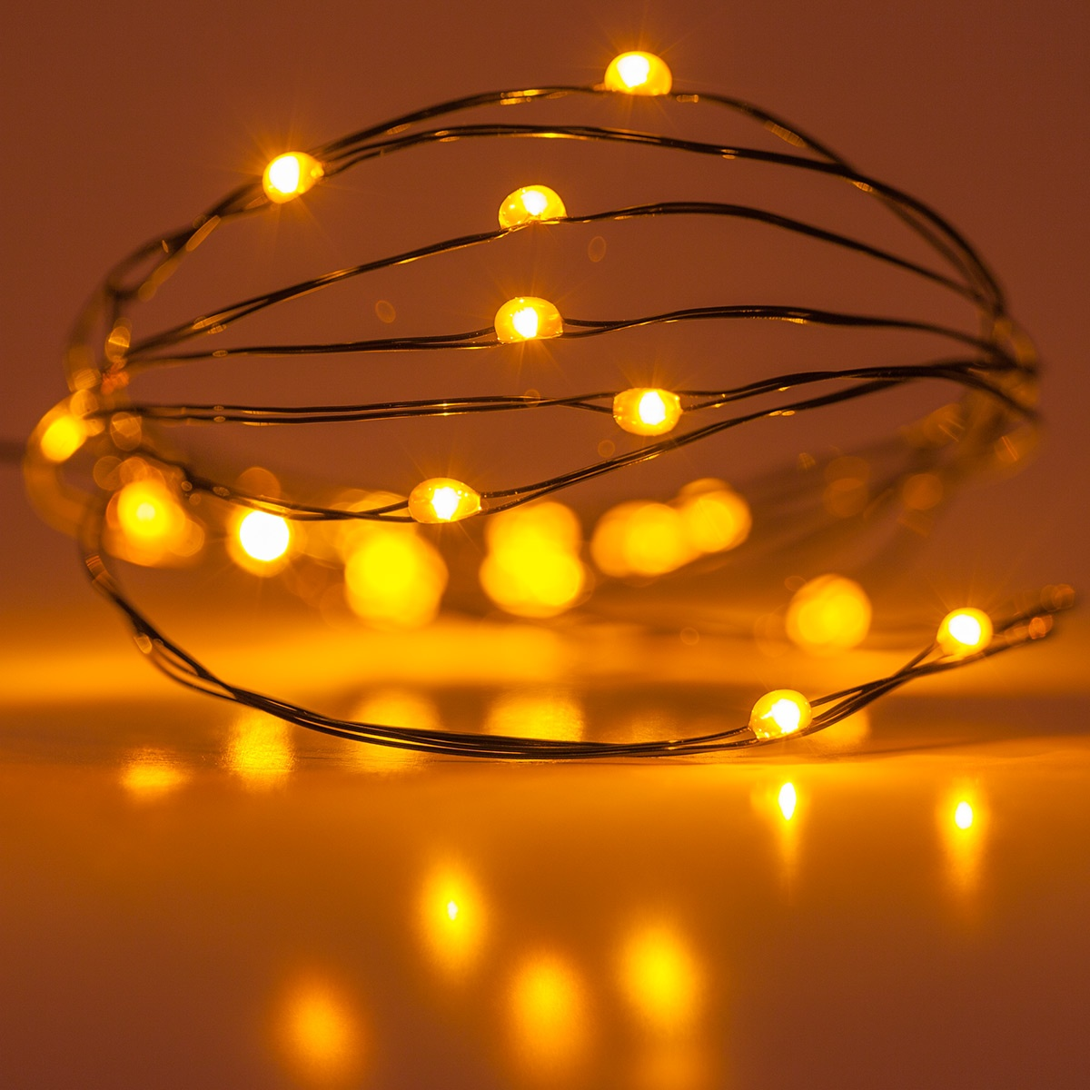 Battery Operated Lights - 18 Amber Battery Operated LED Fairy Lights, Green Wire