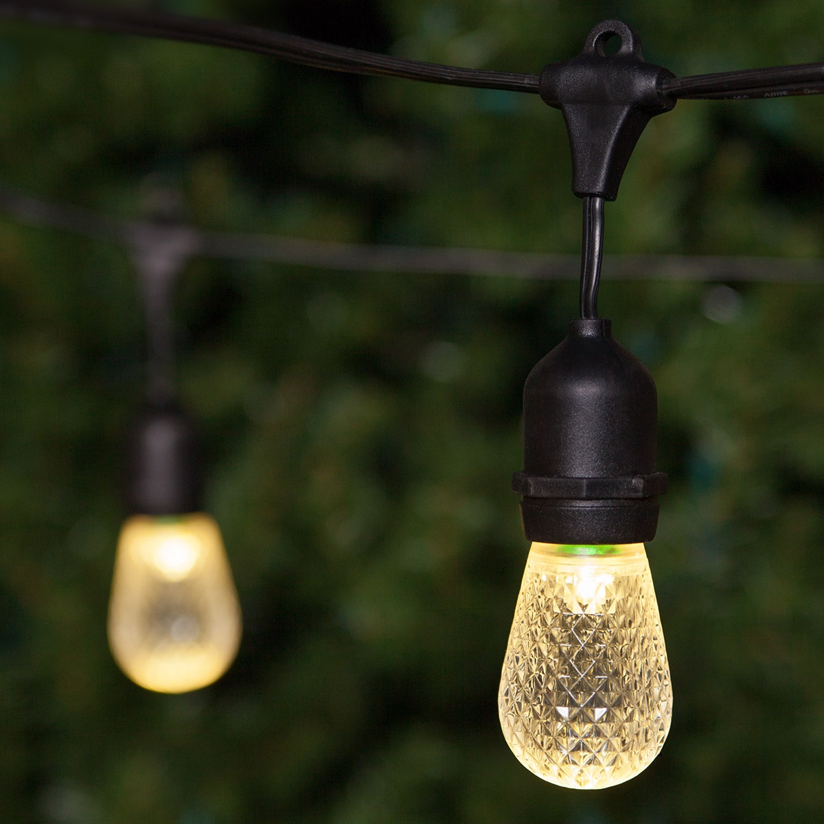 Patio Lights - Commercial Warm White LED Patio String Lights, 24 S14 E26 Bulbs Black Wire