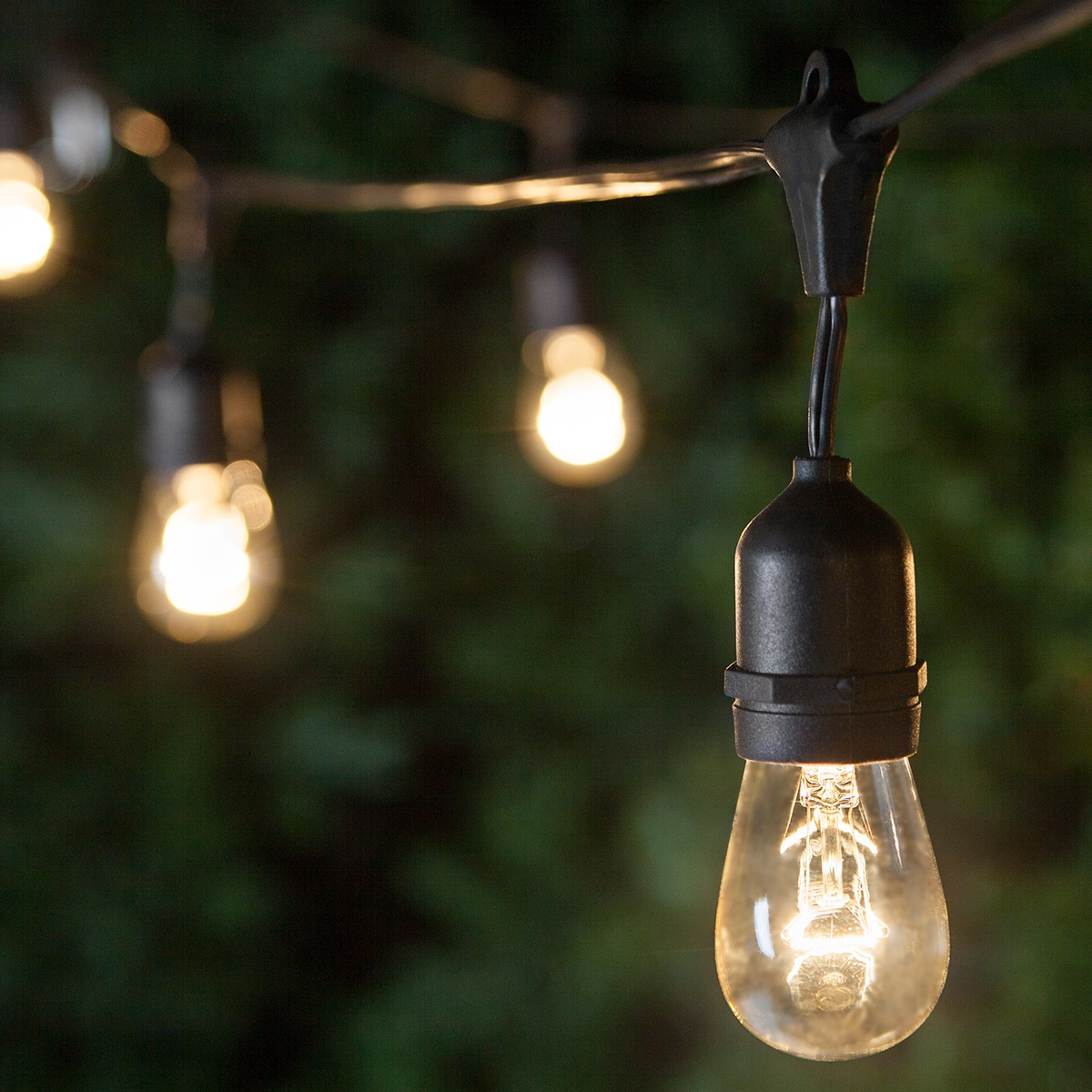 Patio Lights - Commercial Clear Patio String Lights, 24 S14 E27 Bulbs Black Wire