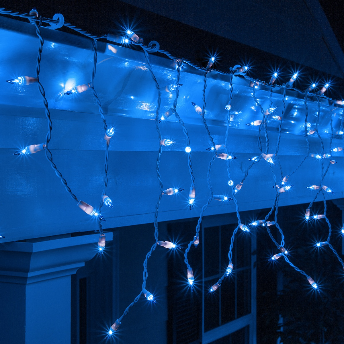 Christmas Icicle Light 150 Blue Icicle Lights White Wire