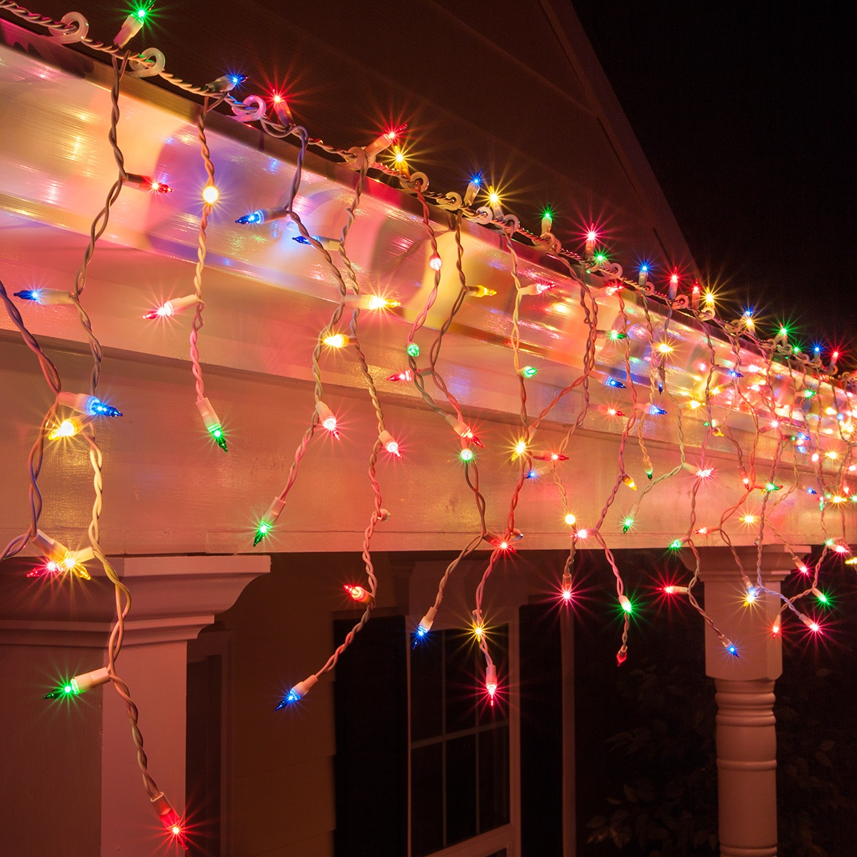 Christmas Icicle Light 150 Multi Red Green Pink Blue