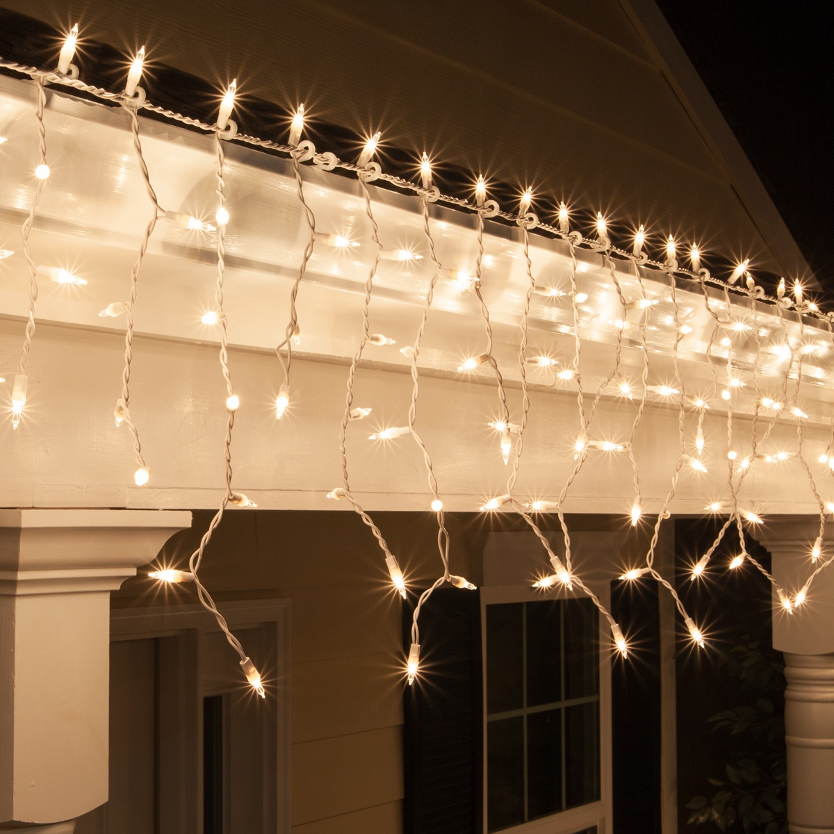 Christmas Icicle Light - 150 Clear Icicle Lights - White Wire