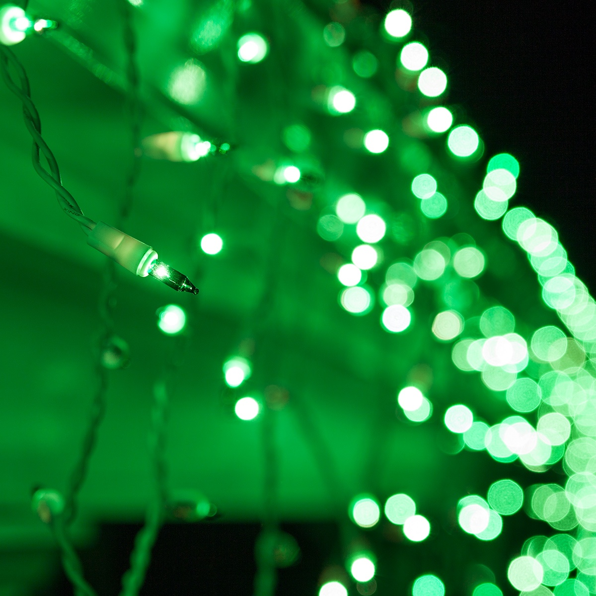 Christmas Icicle Light 100 Green Icicle Lights White