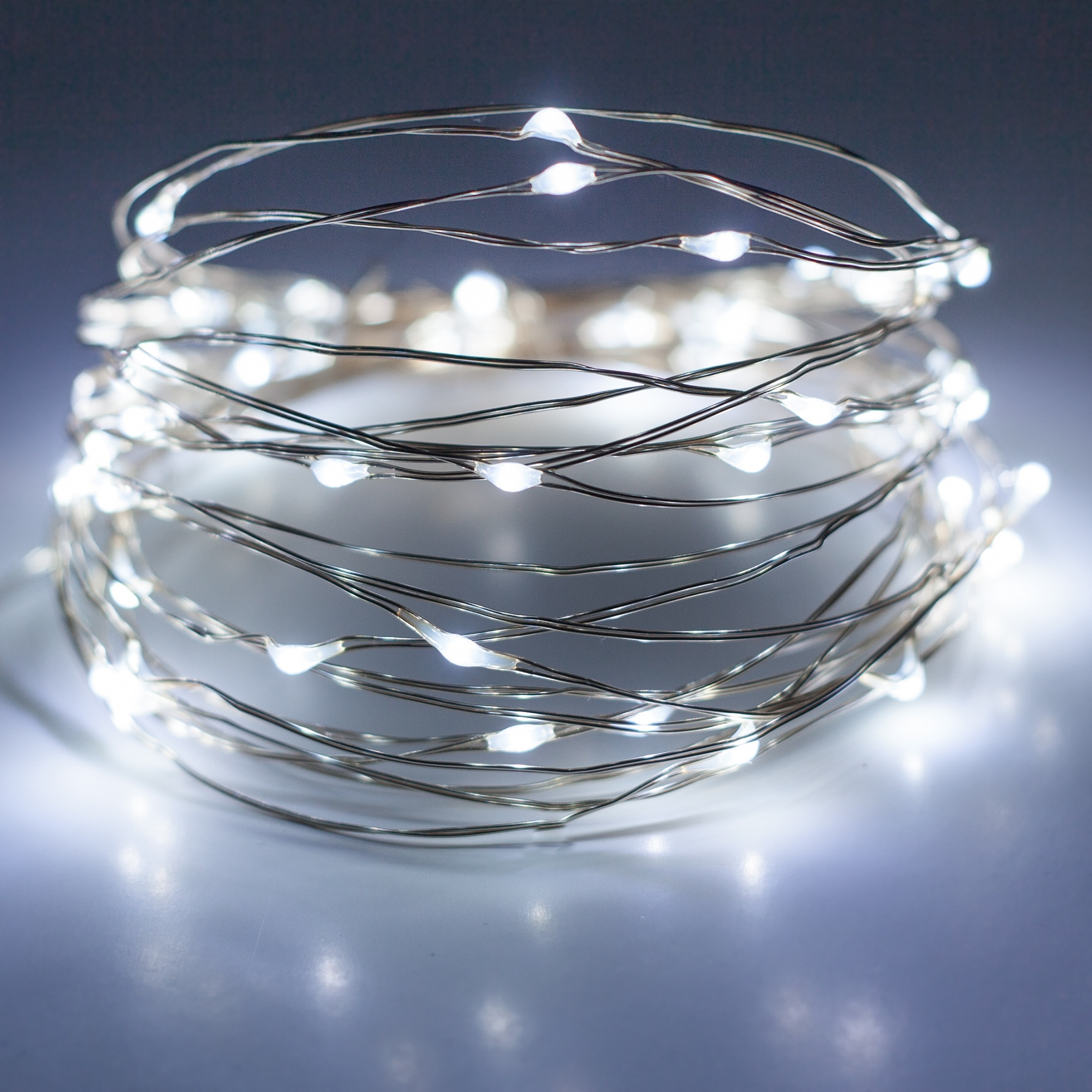 Battery Operated Lights - 30 Cool White Battery Operated LED Fairy Lights, Silver Wire