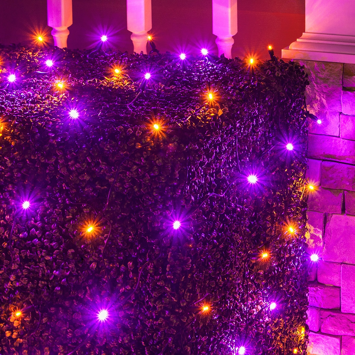 led net lights 4 39 x 6 39 led net lights 100 purple orange lamps black wire. Black Bedroom Furniture Sets. Home Design Ideas