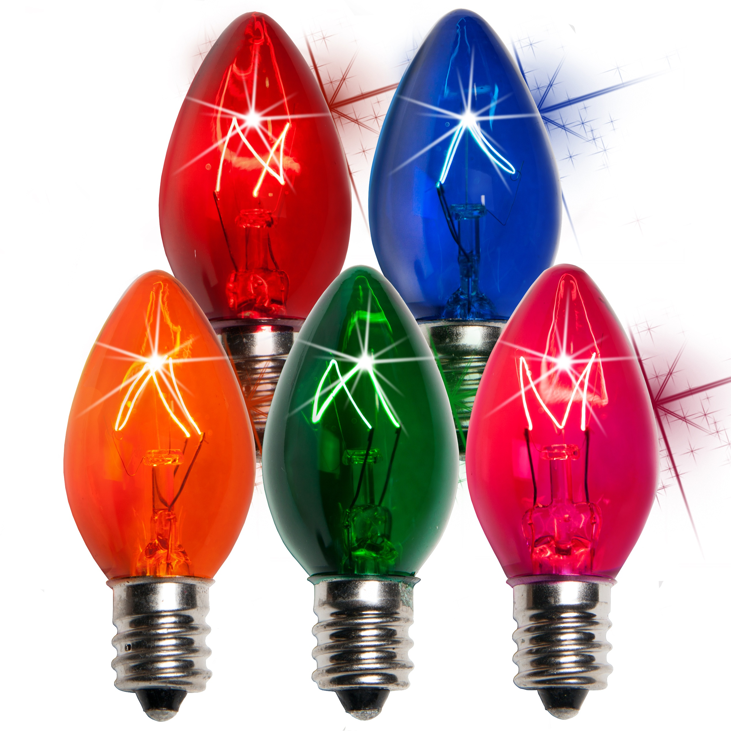 C7 Christmas Light Bulb - C7 Twinkle Multicolor Christmas Light Bulbs, 7 Watt