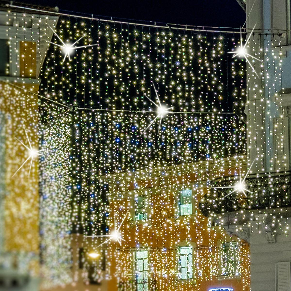 Led Christmas Lights 7 Drop Warm White Led Curtain