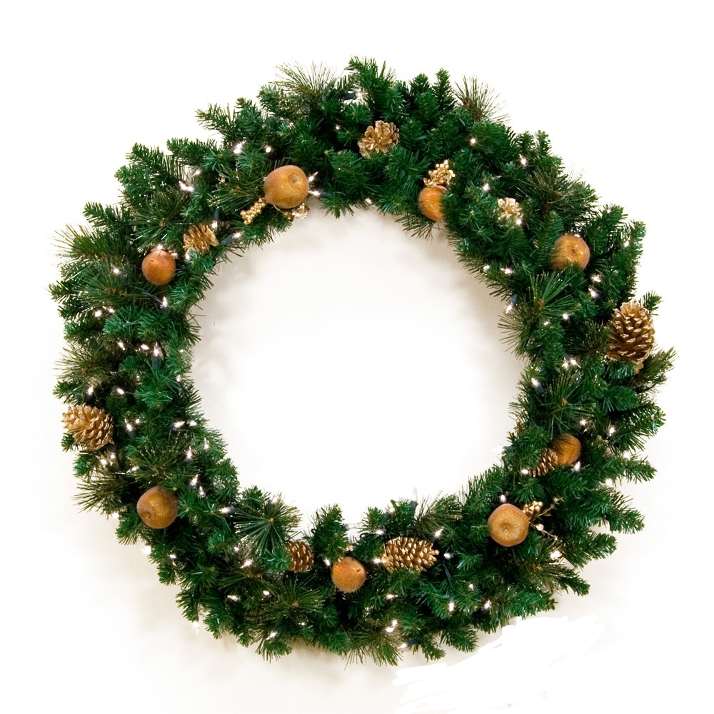 Decorative Wreaths - Harvest Gold Prelit Christmas Wreath, Clear Lights