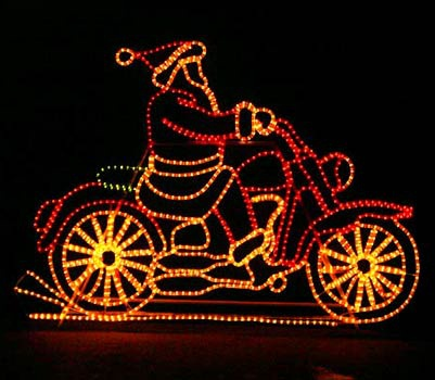 Outdoor Decoration Santa On Motorcycle With Controller