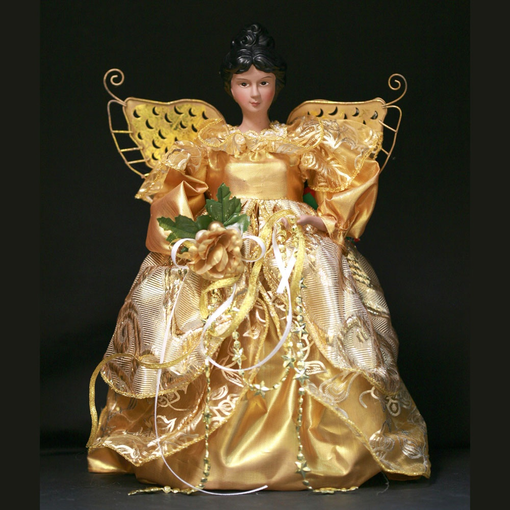 "12"" Gold African American Angel"
