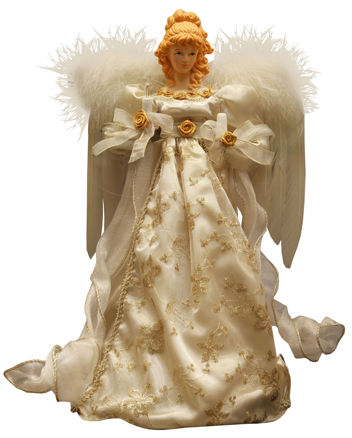"Christmas Tree Angel Tree Topper: 14"" Ivory And Gold Angel Tree Topper"