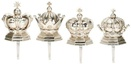 Silver Crown Stocking Holders, 4 Piece Set