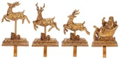 Santa with Reindeer Stocking Holders, 4 Piece Set