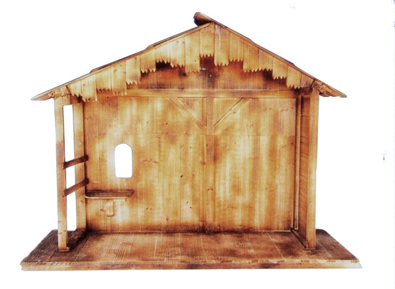 "74""L x 55""H Wooden Stable fits 36"" Christmas Nativity Figures"