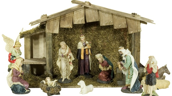 "13""H Polyresin Nativity Set with Wood Stable, 11 Piece Set"