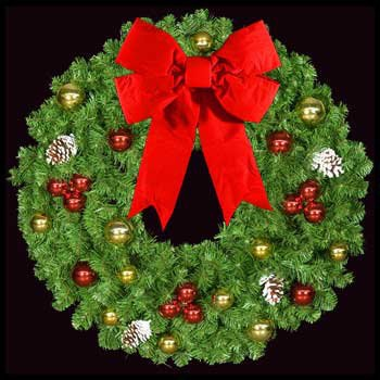 "36"" Unlit Mountain Pine Deluxe Wreath with 16"" Red and Gold Puff Bow and Red and Gold Ornaments, Wall Mount"