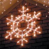 "20"" LED Folding Shimmering Snowflake Decoration, 70 Cool White Twinkle Lights"