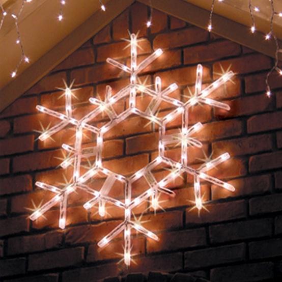 "36"" LED Folding Shimmering Snowflake Decoration, 105 Cool White Twinkle Lights"